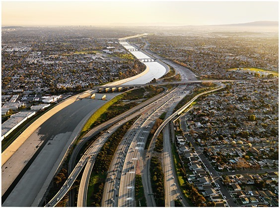 California, USA  Once the city's main water source, the Los Angeles River is now a concrete channel fed by storm drains. City residents rely on water pumped from hundreds of miles away.