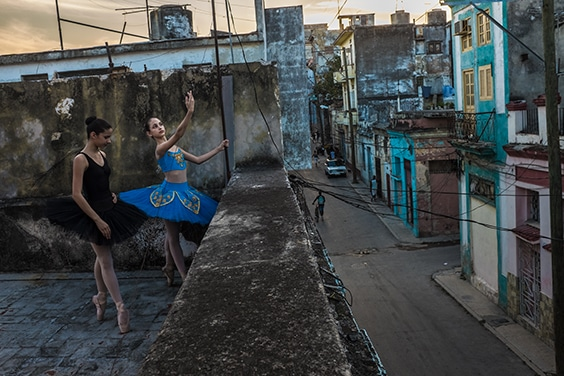 Avril and Thalia on the rooftop, Havana, 2017