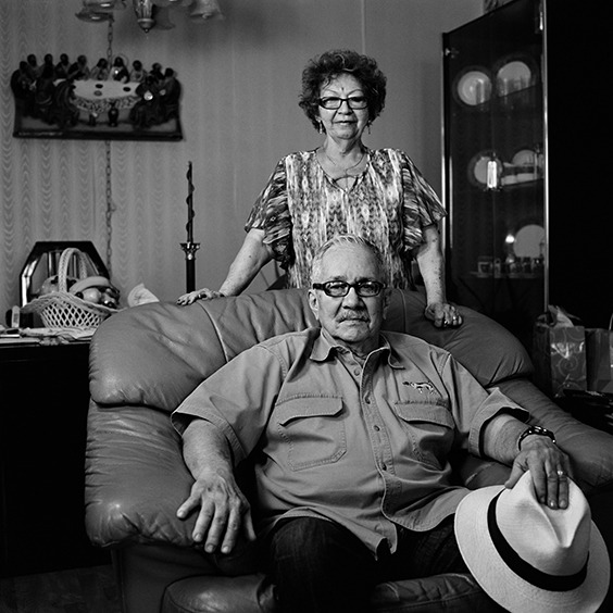 Carlos and Daysi, from the series Vae Victis Vanitas, 2015-1016  Carlos Galán. Inmate #30919  Sentenced to 30 years. Released after 17 years  Galán was a member of the Movimiento de Recuperación Revolucionaria (also known as MRR and the Movement of Revolutionary Recovery). MRR claimed that Castro had betrayed the very principles for which the Revolution had fought. Galán was detained on October 1, 1961. At the age of twenty-one, he was charged with leading a terrorist group and was sentenced to thirty years and served seventeen. In 1979, Galán was forced to leave Cuba for the U.S as a political refugee. Galán and his wife, Daysi, are photographed in their home in North Bergen, New Jersey.